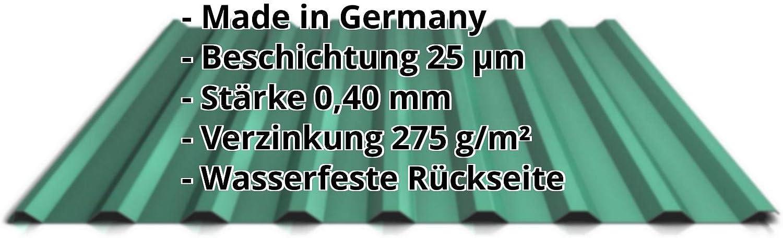 Trapezblech St/ärke 0,75 mm Profilblech Profil PS20//1100TR Material Stahl Beschichtung 25 /µm Farbe Rotbraun Dachblech