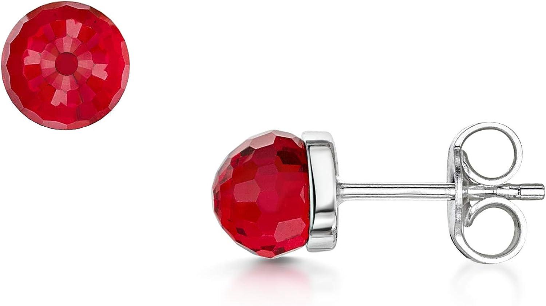 Amberta Pendientes Pequeños en Plata de Ley 925 con Baño de Rodio y Cristales Swarovski 5 mm - Pendientes de Botón Redondos para Mujer - Pendientes Brillantes de Moda con Piedra - Colores Diferentes