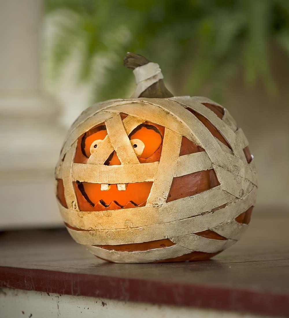 Plow & Hearth Short Igor Lighted Mummy Pumpkin