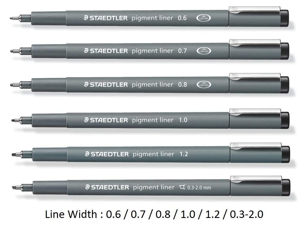 Staedtler Pigment Liner black fineliner pens, full professional 12 pieces artist drawing technical drafting sets by Staedtler (Image #3)