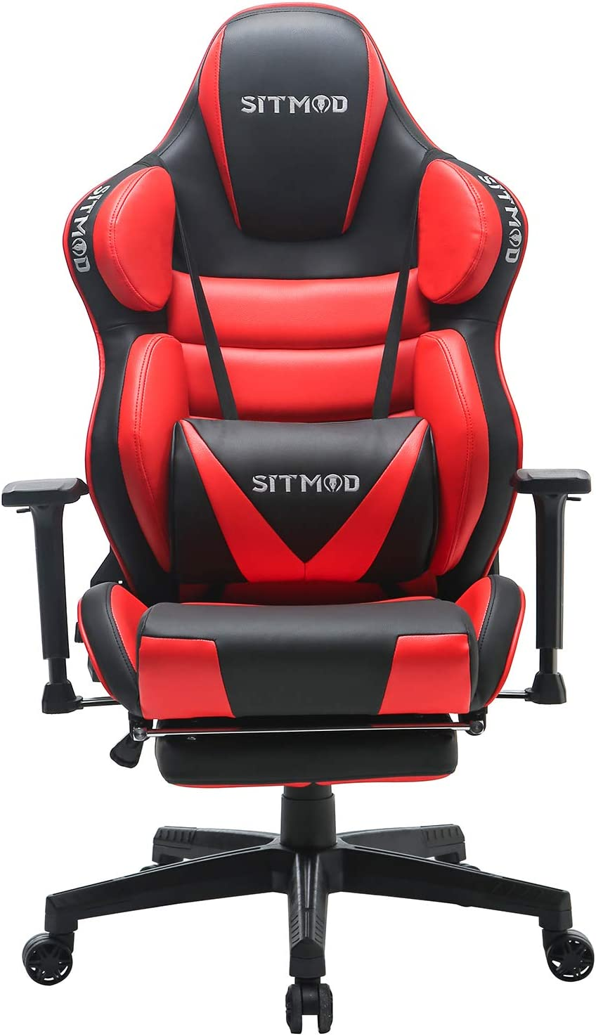 SITMOD Chaise Gaming Fauteuil Gamer Ergonomique 200kg Cuir PU Chaise Racing Pro Massage, Inclinable Grande Taille Fauteuil pour Bureau Broderie Lumineuse Siège Gamer Bascule avec Repose Pied-Rouge