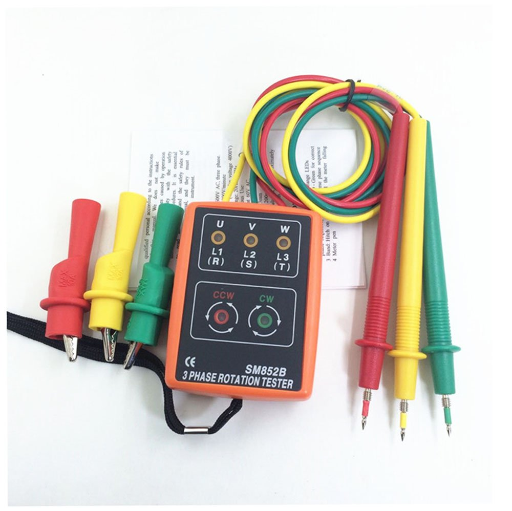 SM852B Portable 3 Phase Sequence Rotation Tester LED Indicator and Buzzer 60 to 600V (3 Phase AC) with Frequency Range 20 to 400Hz Phase Rotation Indicator Detector Meter