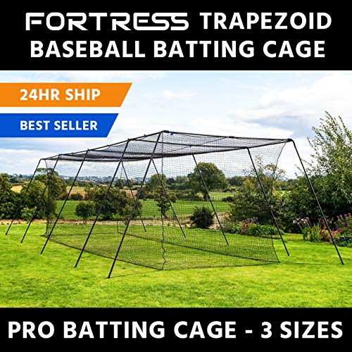 Baseball Batting Cage Net - Fortress Trapezoid Baseball Batting Cage [Complete Package] - Softball Hitting Cage Net (55ft Cage - Internal Net)