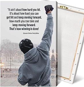 Rocky Balboa Movie Quote Motivational Wall Art Canvas Print Office Decor Inspiring Prints Inspirational Quotes for Wall Art Decoration (12x18 Inch-framed)