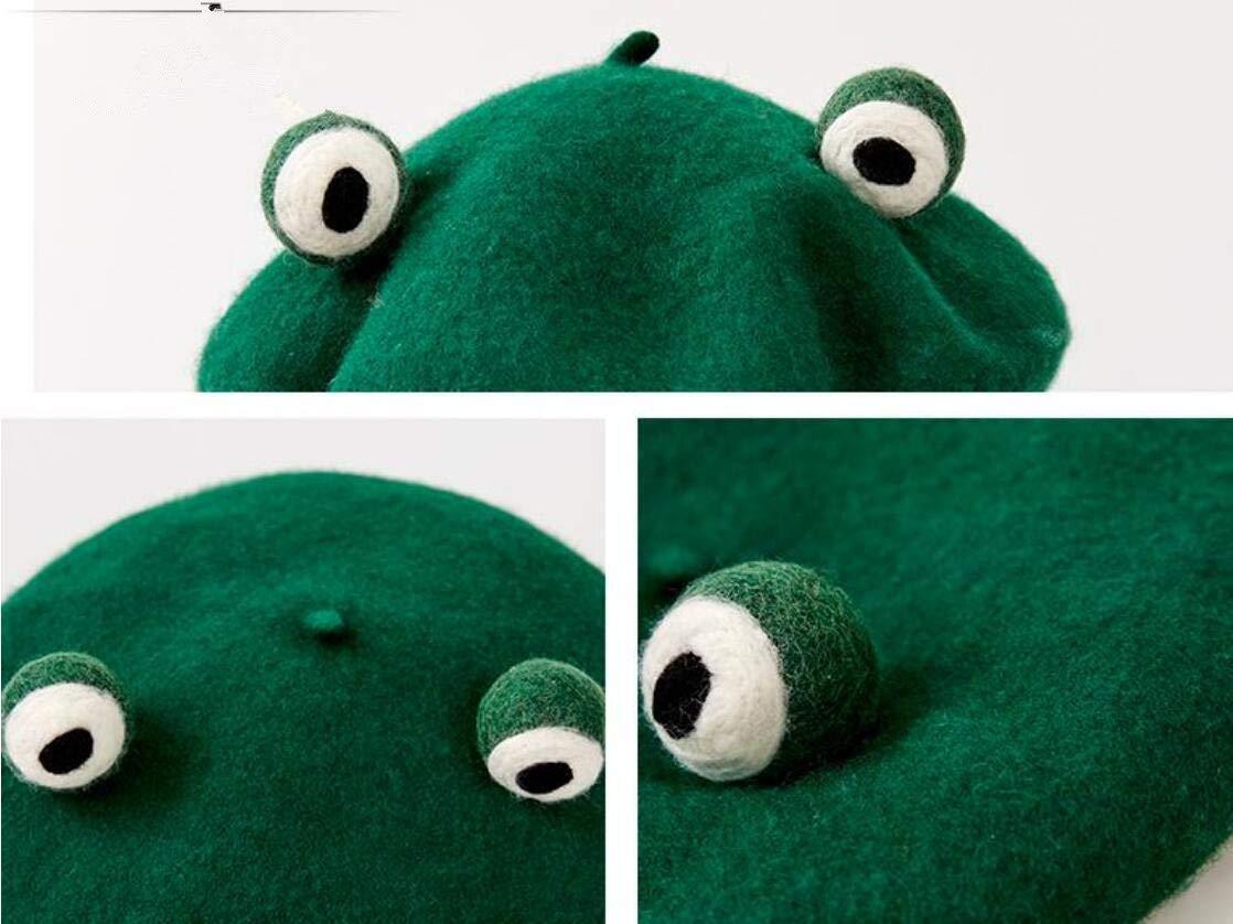 SmilePunk Japan Lolita Vintage Funny Frog Hat Beret Cap for Women Painter Genuine Green Gift