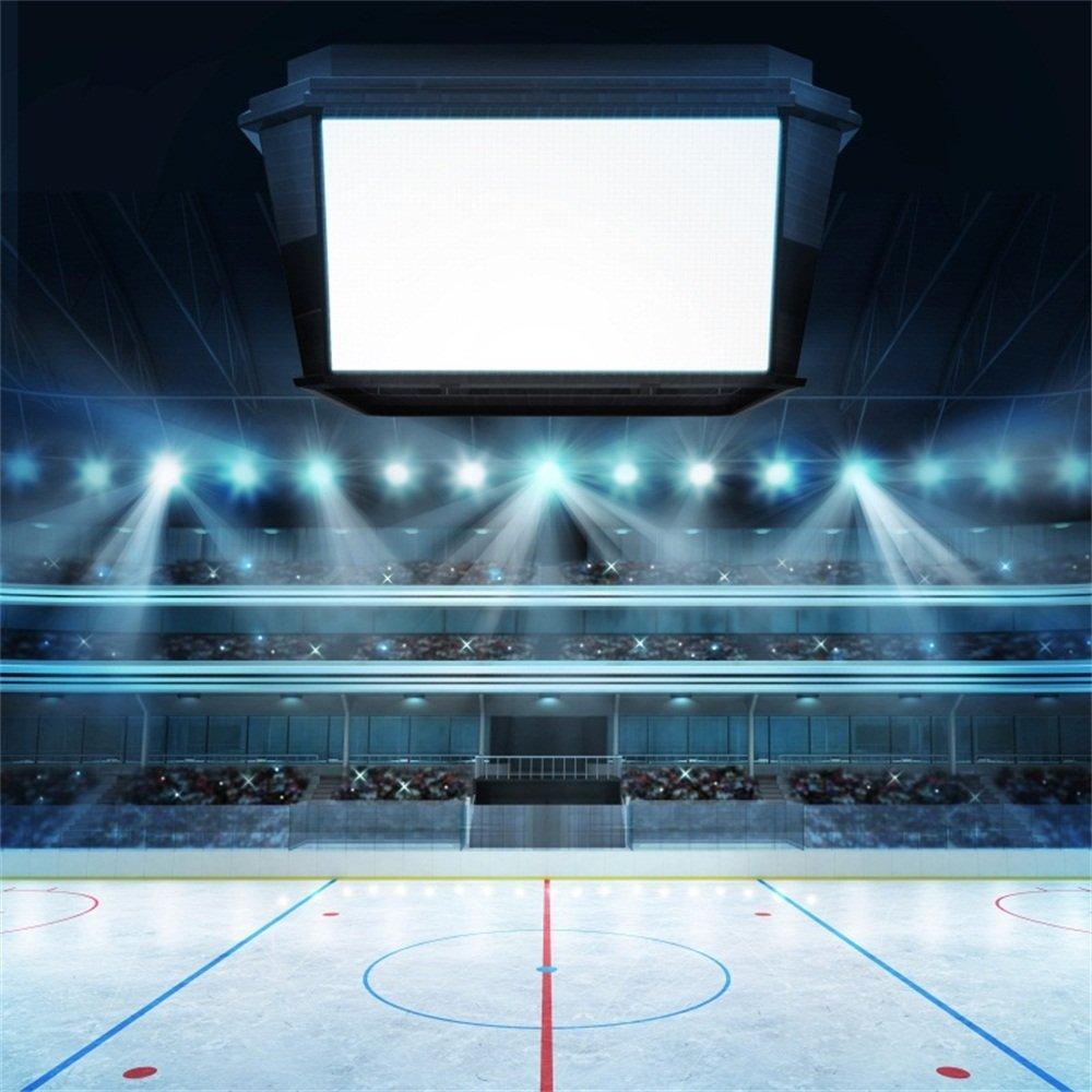 LFEEY 5x5フィート ポリエステル照明 ホッケー スタジアム 写真 背景 ファン 空白 キューブ テキスト スペース背景 ポートレート 子供 男の子 メンズ アドゥートル 写真撮影用小道具   B07DN8CY7C