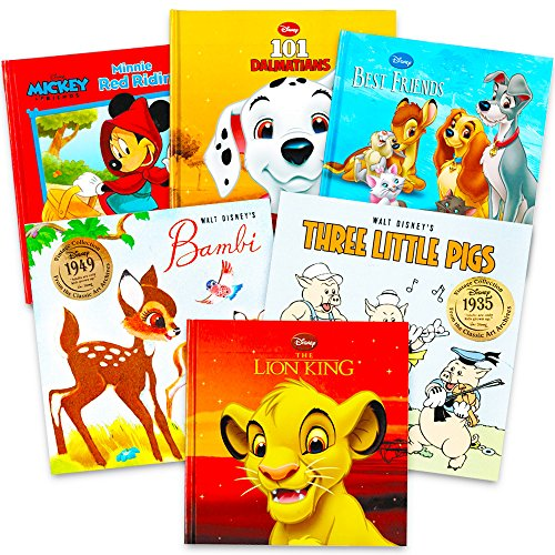 Disney Classics - Super Set of 6 Baby Toddler Storybooks (The Lion King, 101 Dalmatians, Minnie Red Riding Hood, Bambi, 3 Little Pigs, Best Friends)