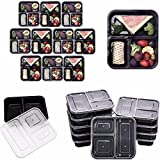 Lumenon 3 Compartment Reusable Food Storage Meal Containers with Lids, Microwave and Dishwasher Safe, Bento Lunch Box, Stackable, Set of 10 1000ml ()