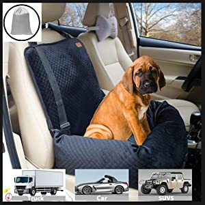 Pet Car Carrier for Small Medium Large Dogs/Cats,Puppy Travel Lookout Booster Seat with Non-Slip Bottom & Washable Cover (Solid Black)