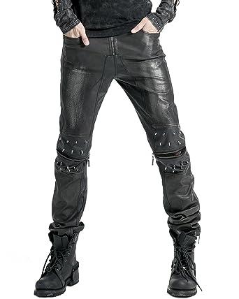 e453692d5a Punk Rave Mens Faux Leather Jeans Pants Black Goth Dieselpunk Spike Trousers:  Amazon.co.uk: Clothing