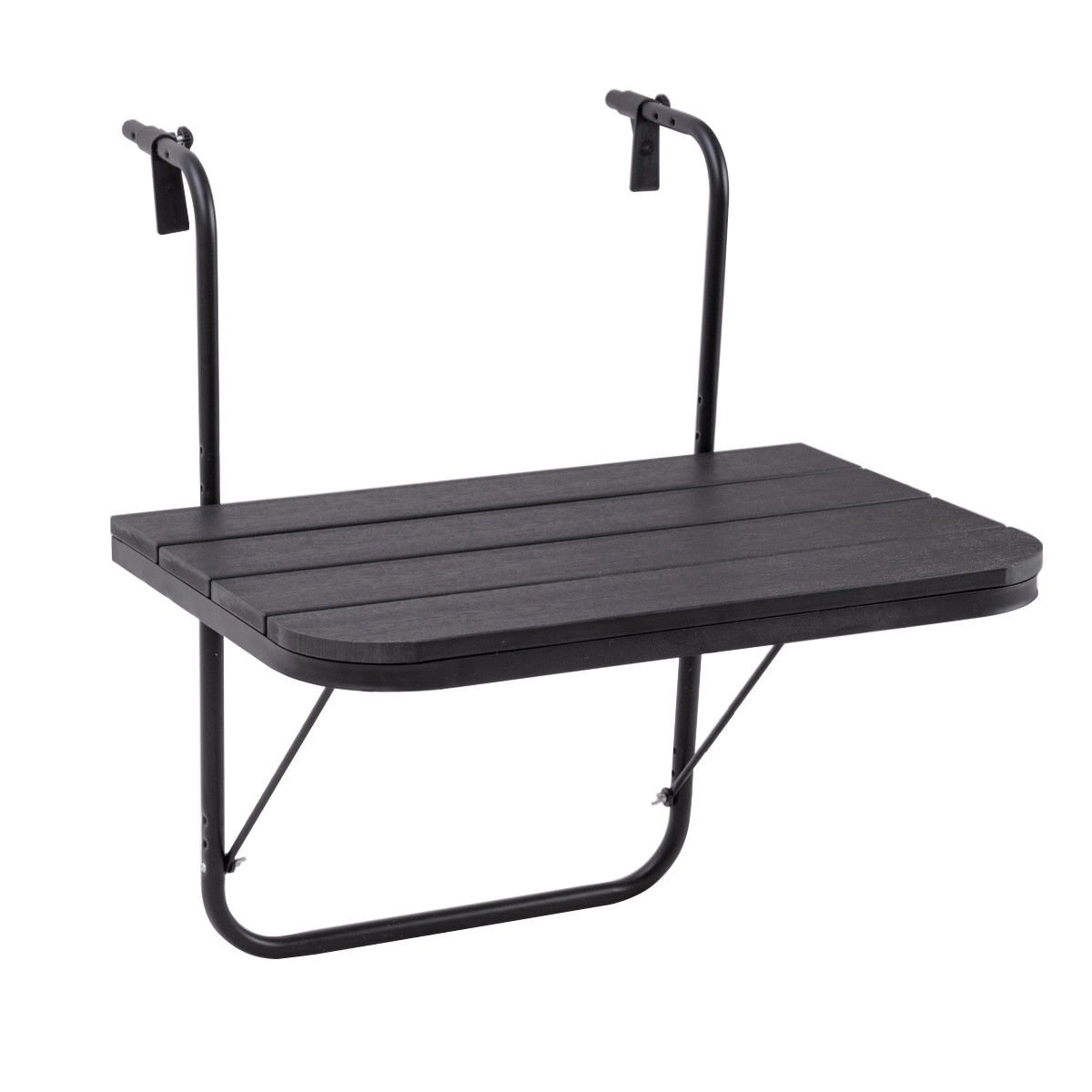 Black Balcony Folding Table Adjustable Serving Tray w/ 4 Hanging Hooks