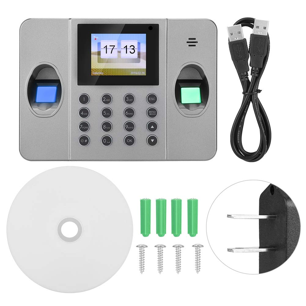 Fingerprint Time Attendance, TCP/IP Punch Card & Fingerprint Time Clock Time Attendance Machine LCD Screen Black(US) by Dioche