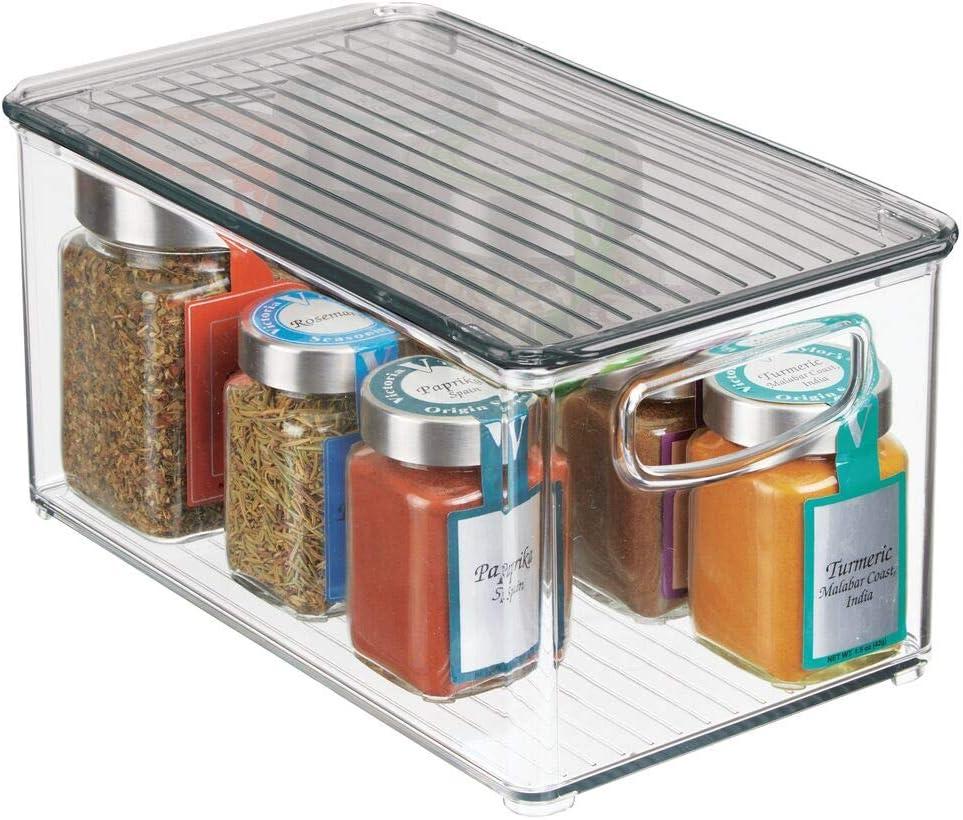 mDesign Caja para almacenaje con tapa – Organizador de frigorífico ...