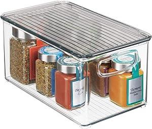 "mDesign Plastic Stackable Kitchen Pantry Cabinet, Refrigerator or Freezer Food Storage Bin with Handles, Lid - Organizer for Fruit, Yogurt, Snacks, Pasta - BPA Free, 10"" Long - Clear/Smoke Gray"