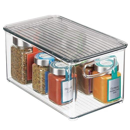 mDesign Caja para almacenaje con tapa - Organizador de frigorífico ...