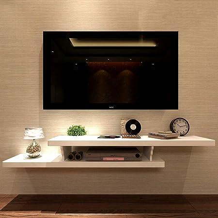 WuShuang Montaje en Pared TV gabinete Set Top Box Estante Estante Flotante TV Fondo de Pared Estante Colgante Dormitorio Decoración de Pared Estante de Almacenamiento,White: Amazon.es: Hogar