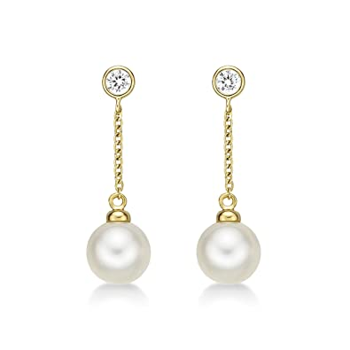 c7ed0c64a Dangling Pearl Earrings with Real White Round Freshwater Pearls set in  Luxurious 9K Yellow Gold Complemented. Diamond Treats