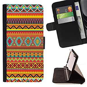 Super Marley Shop - Funda de piel cubierta de la carpeta Foilo con cierre magn¨¦tico FOR HTC One M7- Aztec Moustache Nebula Tribal Patterns