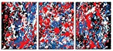 JP London CNVT4122 Gallery Wrap Canvas 2In Thick Heavyweight Canvas Triptych Jackson Pollack Primary Splatter 3 Panel Wall Art At 54In Wide By 24In High