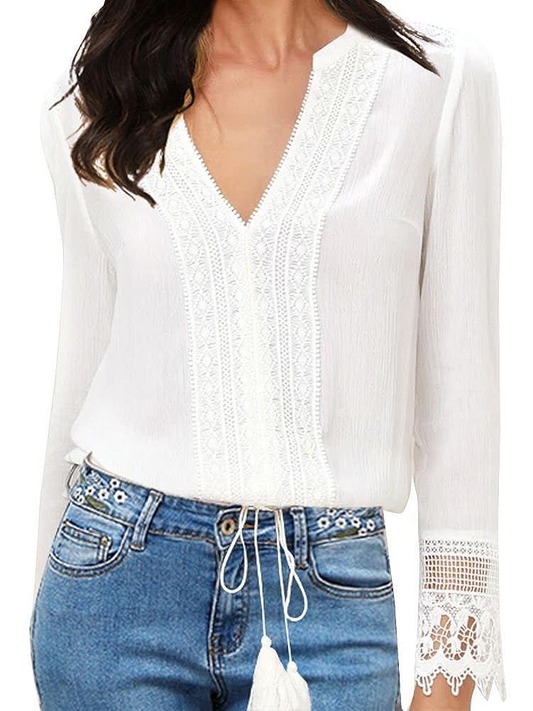 02eb86b48aab90 FANCYINN Women Lace Splicing Chiffon Long Sleeve V-Neck White Blouse at  Amazon Women's Clothing store: