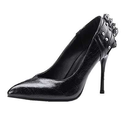8adadbe8639 Rongzhi Womens Pointy Toe Rhinestones Stiletto Pumps Heeled Shoes Office  Court Slip on High Heels Black