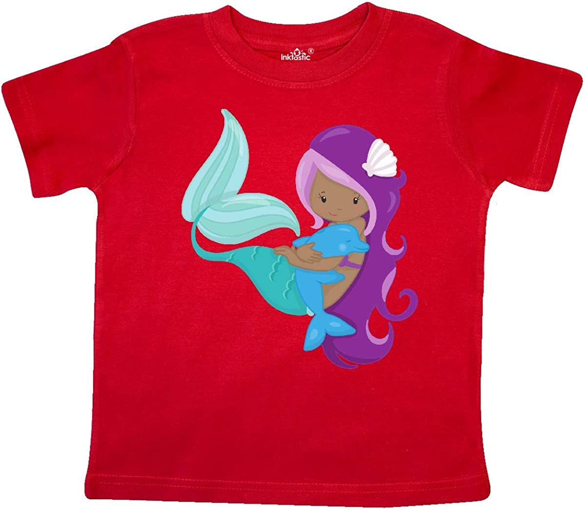 inktastic African American Mermaid with Purple Hair Dolphin Toddler T-Shirt