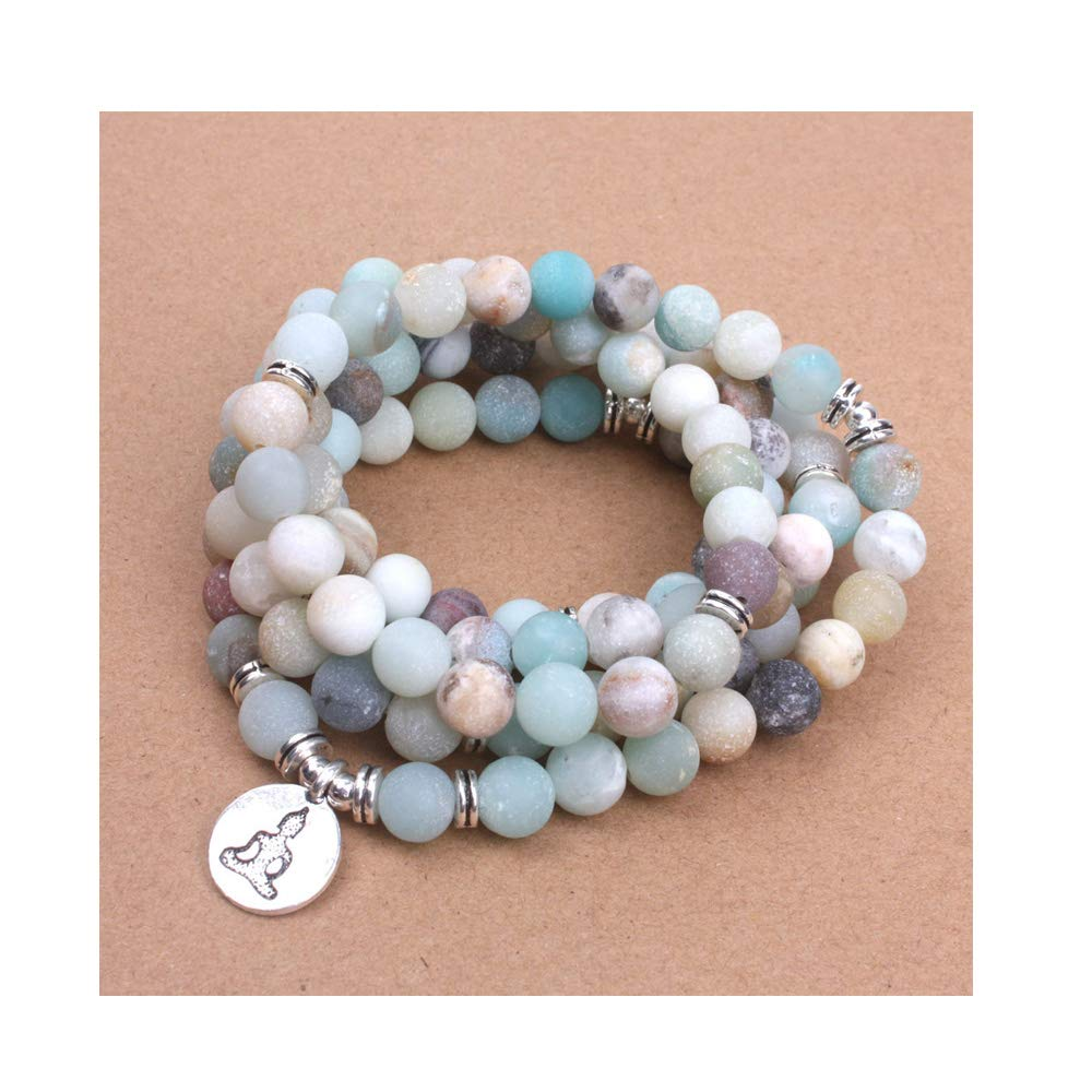 CAIYCAI Women's Bracelet Matte Frosted Amazonite Beads with Lotus Om Buddha Charm Yoga Bracelet Necklace