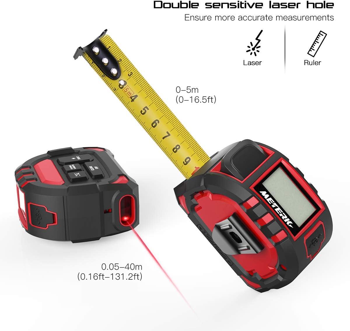 Meterk M/ètre Laser Num/érique,M/ètre Ruban Laser T/él/ém/ètre Laser Num/érique M//In//Ft//Ft Unit/é Laser Mesure de Distance avec LCD R/étro-/éclairage 5M M/ètre /à Ruban