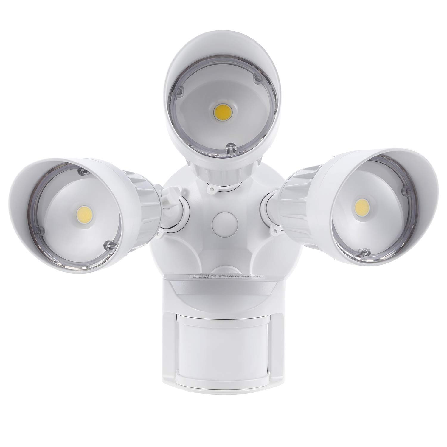 Com Leonlite 30w 3 Head Motion Activated Led Outdoor Security Light Photo Sensor Modes 150w Halogen Equivalent 5000k Daylight