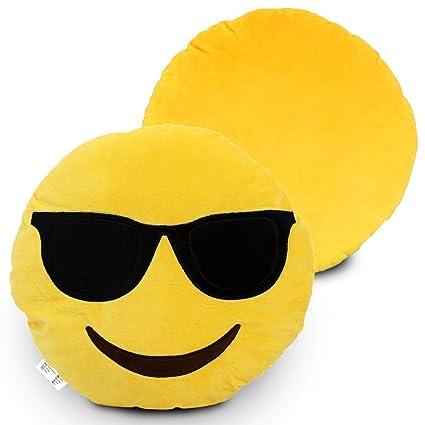 Desire Deluxe Cojín Emoticono Gafas de Sol Sonriente - Almohada o Peluche Emoji Cariñoso en Forma de Emoticon Gafas de Sol 100% de Satisfacción o ...
