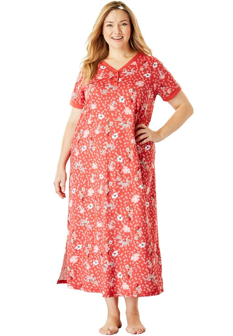 Dreams & Co. Women's Plus Size Long Henley Sleepshirt Coral Ruby Floral,38/40