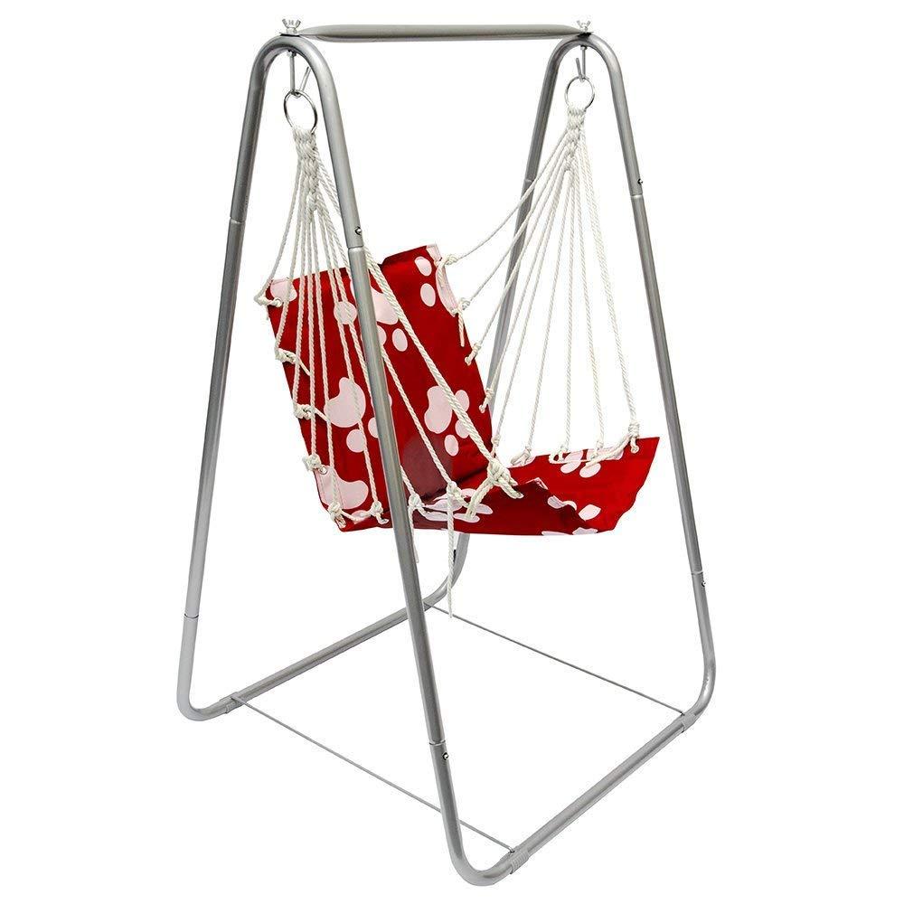 AMANKA Set Altalena Completo | stabile Struttura in metallo + comoda Poltroncina in nylon imbottito | con schienale per bambini max 50Kg | per cameretta e giardino | Rosso con motivi bianchi