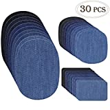 Outuxed 30pcs Iron on Denim Patches Fabric Patches for Clothing Jeans, Iron on Repair Kit, 5 Colors, 3 Sizes(4.9'x6.9',3.7'x4.1',2'x3')
