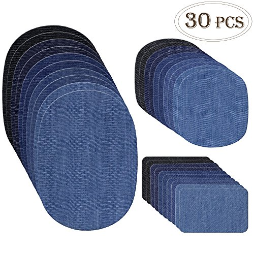 Outuxed 30pcs Iron on Denim Patches Fabric Patches for Clothing Jeans, Iron on Repair Kit, 5 Colors, 3 Sizes(4.9
