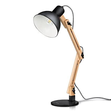 Buy Black Tomons Scandinavian Swing Arm Wood Desk Lamp Table Lamp Black Online At Low Prices In India Amazon In