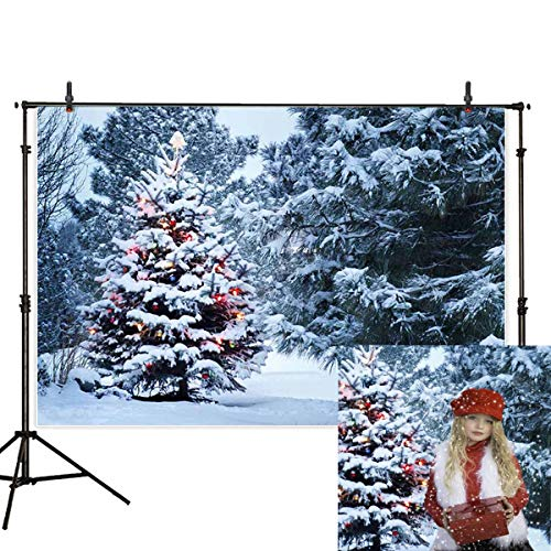 (Funnytree 7x5ft Christmas Tree Backdrops for Photography Winter White Snow Pine Forest Landscape Background Outdoor Party Baby Child Family Portrait Photobooth Photo Studio)