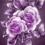 Cyhulu 5D DIY Diamond Embroidery Painting, Realistic Flower 5D Embroidery Paintings Rhinestone Pasted DIY Diamond Painting Cross Stitch Craft Home Office Decor Gift Art Wall Sticks (B, One size)