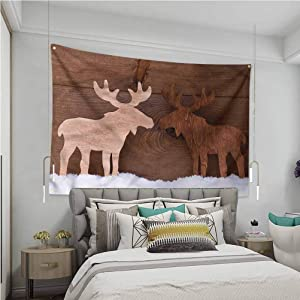VVA Moose Tapestry hippieRomantic Christmas Season Sofa Outdoor Decor Wall Hanging?