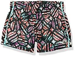 RBX Big Girls\' Mesh Shorts w/ Interlock Lining, Black/Multi, M(10/12)