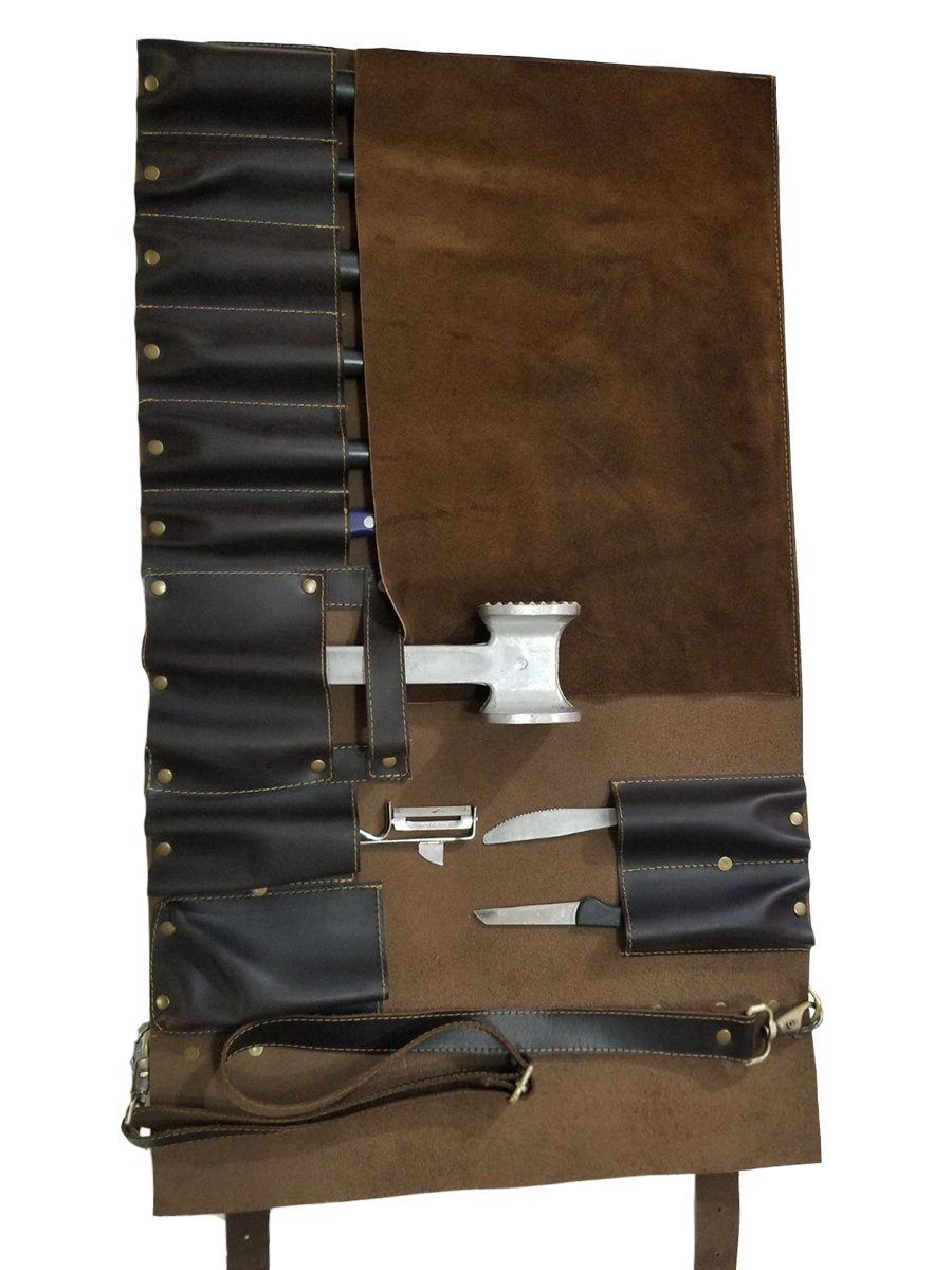 Lightweight Genuine Premium Dark Brown Leather 11 Slots Professional Chef Knife Bag/Chef Knife Roll K01-11 by luvsecretlingerie