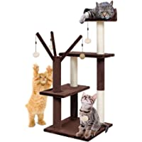 Finether Cat Tree Tower Furniture Kitten Playhouse (Brown and Beige)