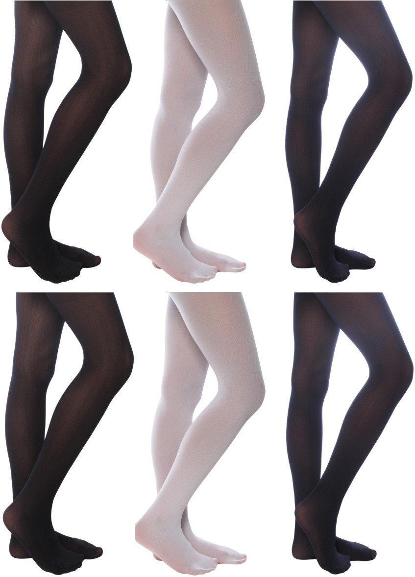 6 Pack Blue Heaven Girl's Opaque Tights 16-18 Black, White, Navy