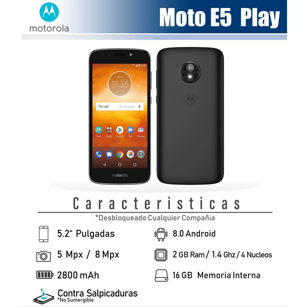 276e0f8f95b Amazon.com: Virgin Mobile Moto e5 Play 5.2 HD Touchscreen, 16gb ROM, 2gb  ram Prepaid Phone: Cell Phones & Accessories