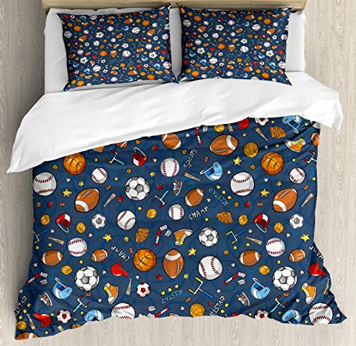 (Ambesonne Sport Duvet Cover Set Queen Size, Many Basketball Baseball and Football Champ Gloves Dark Background, Decorative 3 Piece Bedding Set with 2 Pillow Shams, Dark Blue)
