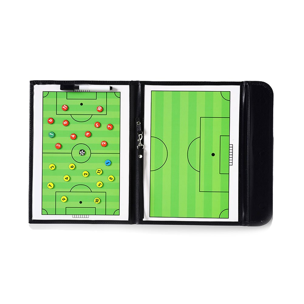 EMPHY Soccer Coach Clipboard Waterproof, Foldable Double Sides Sports Coaching Tool Dry Erase Board - 2-in-1 Erase Markers, Magnets