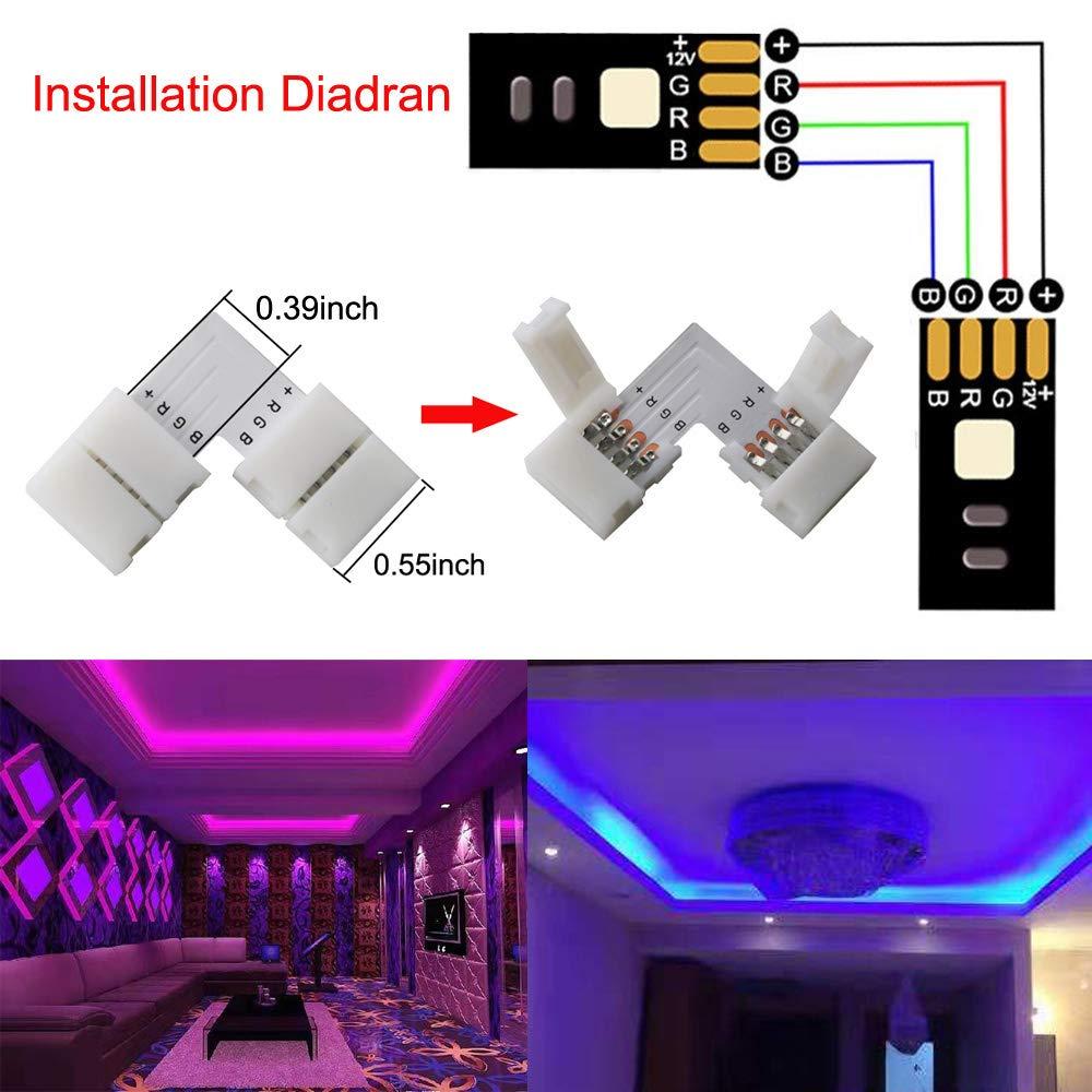 RUNCCI 15PCS en Forme de L Raccord dangle de Raccord Rapide LED 4 Pin RGB LED Bande de Connecteur RGB 5050 Connecteur Bande LED pour SMD 5050 3528 2835 RGB LED Strip10mm de large blanc
