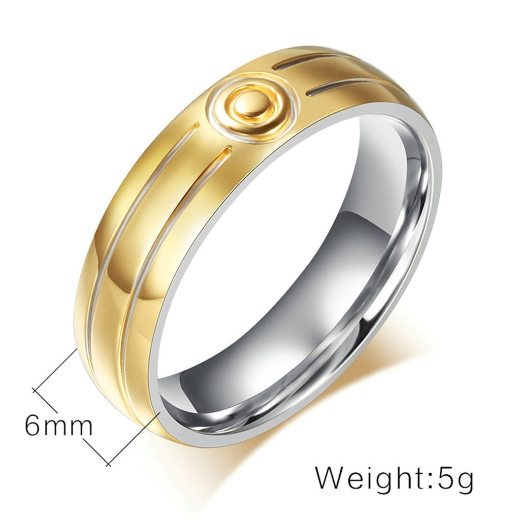 Tianyi Stainless Steel Gold Pltaed Two Groove Target Shape Wedding Band//Anniversary//Engagement//Promise//Couple Ring For Men Size 9