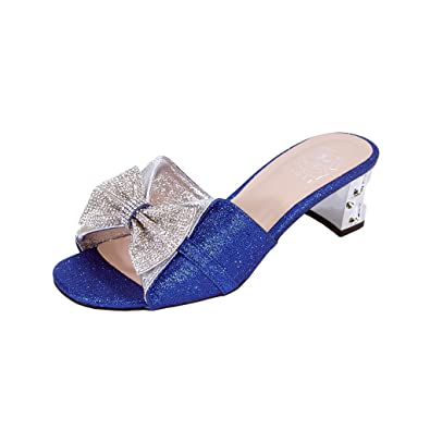 81b78ba081f Floral Farrah Women Wide Width Rhinestone Bow Slip-On Pretty Ornate Block  Heel Sandals Blue