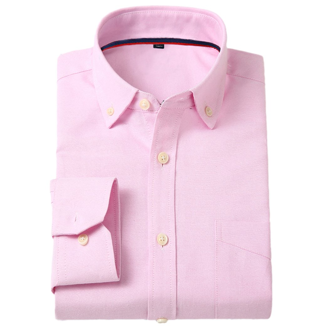 CATERTO Men's Casual Solid Long-Sleeve Oxford Dress Shirt Pink M