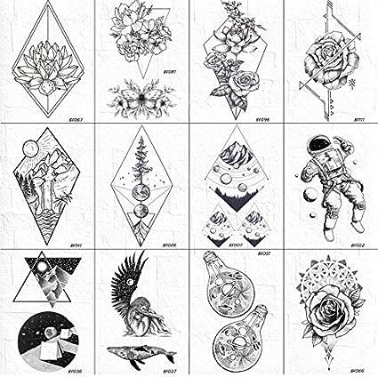 yyyDL etiqueta engomada colorida del tatuaje 3D geométrico rombo ...